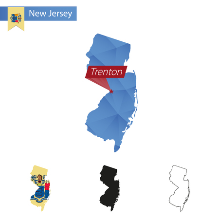 state of new jersey blue low poly map with capital trenton versions with flag