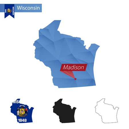 madison: State of Wisconsin blue Low Poly map with capital Madison, versions with flag, black and outline. Vector Illustration.