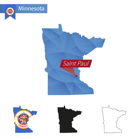 paul: State of Minnesota blue Low Poly map with capital Saint Paul, versions with flag, black and outline. Vector Illustration.