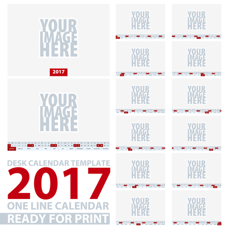 january 1: Set of 2017 Desk Calendar. 12 month in one line. Size 205x145 mm. Vector Illustration.