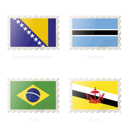 Postage stamp with the image of Bosnia and Herzegovina, Botswana, Brazil, Brunei flag. Bosnia and Herzegovina, Botswana, Brazil, Brunei Flag Postage on white background with shadow. Vector Illustration. Illustration