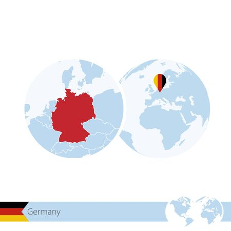 germany on world globe with flag and regional map of germany vector illustration illustration