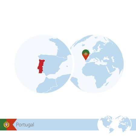 Portugal on world globe with flag and regional map of Portugal. Vector Illustration. Illustration
