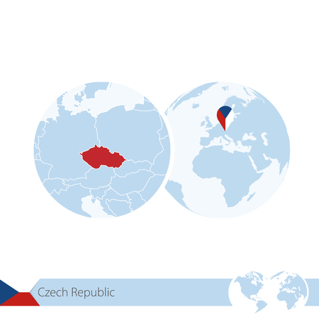 Czech Republic on world globe with flag and regional map of Czech Republic. Illustration.