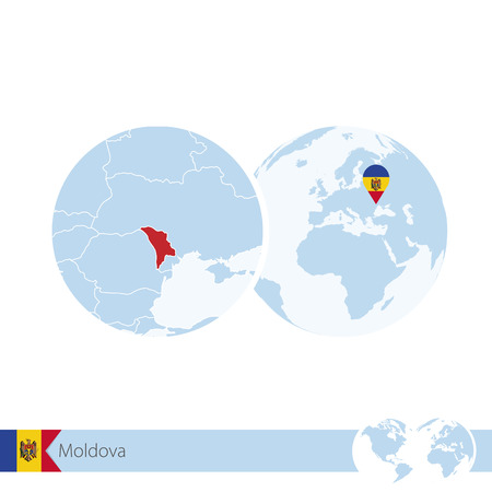 Moldova on world globe with flag and regional map of Moldova. Illustration.