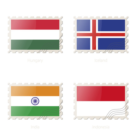 iceland flag: Postage stamp with the image of Hungary, Iceland, India, Indonesia flag. India, Indonesia, Hungary, Iceland Flag Postage on white background with shadow. Illustration.