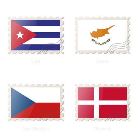 the czech republic: Postage stamp with the image of Cuba, Cyprus, Czech Republic, Denmark flag. Czech Republic, Denmark, Cuba, Cyprus Flag Postage on white background with shadow. Illustration.
