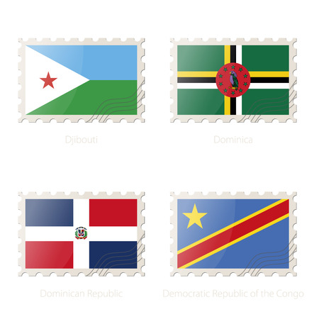 dr: Postage stamp with the image of Djibouti, Dominica, Dominican Republic, Democratic Republic of the Congo flag. DR Congo, Djibouti, Dominica, Dominican Republic Flag Postage on white background with shadow. Illustration. Illustration