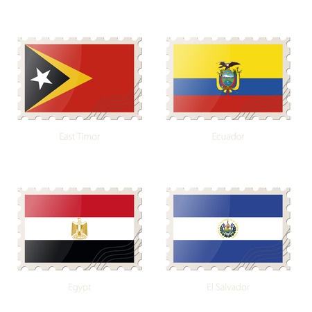 flag of egypt: Postage stamp with the image of East Timor, Ecuador, Egypt, El Salvador flag. Egypt, El Salvador, East Timor, Ecuador Flag Postage on white background with shadow. Illustration.