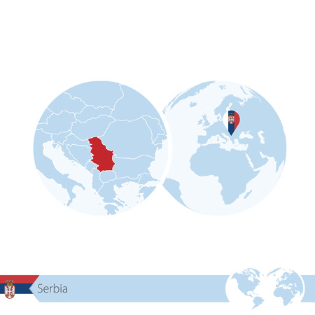 Serbia on world globe with flag and regional map of Serbia. Illustration.