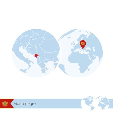 Montenegro on world globe with flag and regional map of Montenegro.  Illustration.
