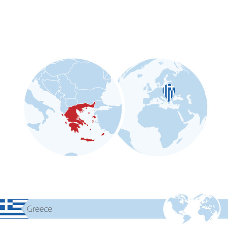Greece on world globe with flag and regional map of Greece. Illustration. Illustration