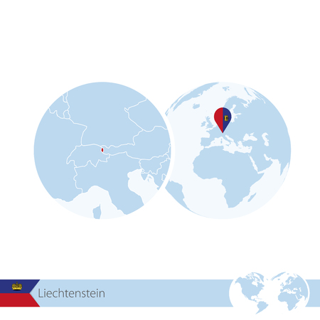 Liechtenstein on world globe with flag and regional map of Liechtenstein. Illustration. Illustration