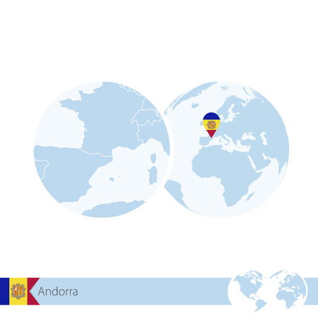 andorra: Andorra on world globe with flag and regional map of Andorra.  Illustration. Illustration