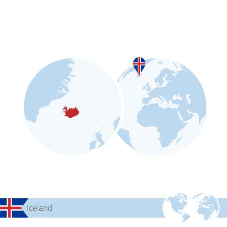 Iceland on world globe with flag and regional map of Iceland.  Illustration.