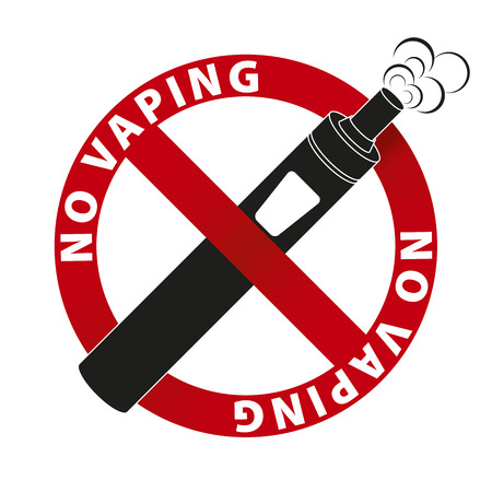eliquid: No Vaping sign and text on white background. illustration.