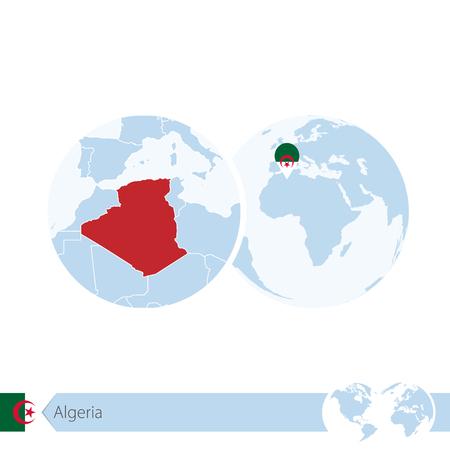 Algeria on world globe with flag and regional map of Algeria. Vector Illustration.