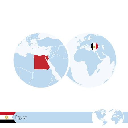 stud: Egypt on world globe with flag and regional map of Egypt. Vector Illustration.