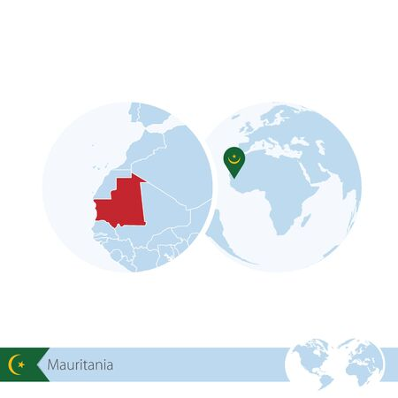 mauritania: Mauritania on world globe with flag and regional map of Mauritania. Vector Illustration.