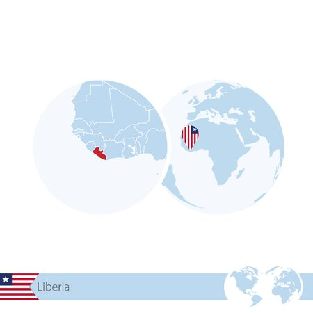 stud: Liberia on world globe with flag and regional map of Liberia. Vector Illustration.