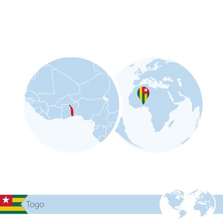 stud: Togo on world globe with flag and regional map of Togo. Vector Illustration. Illustration