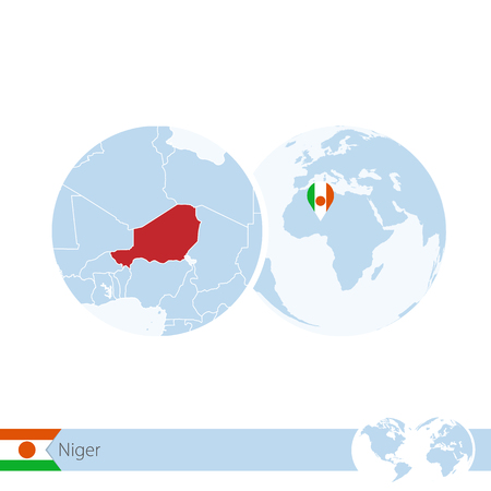 Niger on world globe with flag and regional map of Niger. Vector Illustration.