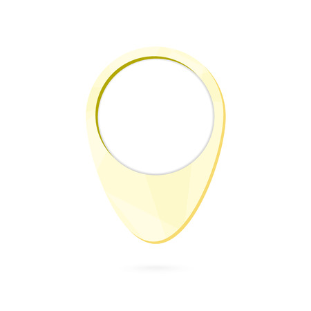 Yellow map point symbol, place marker with shadow. Vector Illustration.