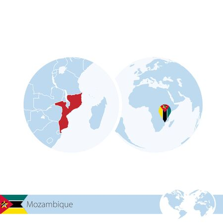 Mozambique on world globe with flag and regional map of Mozambique. Vector Illustration.