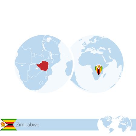 Zimbabwe on world globe with flag and regional map of Zimbabwe. Vector Illustration. Illustration