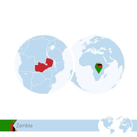 Zambia on world globe with flag and regional map of Zambia. Vector Illustration. Illustration