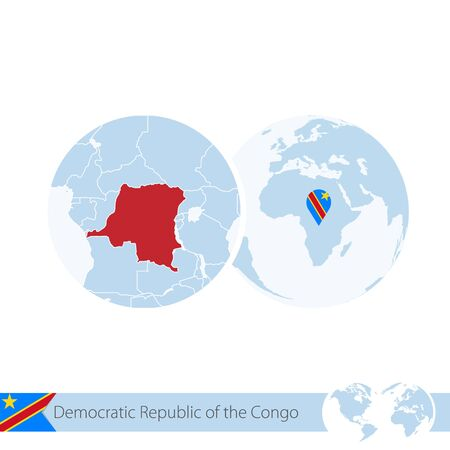 national geographic: Democratic Republic of the Congo on world globe with flag and regional map of DR Congo. Vector Illustration. Illustration
