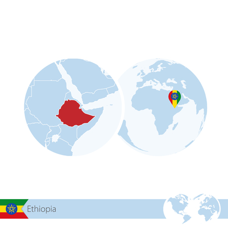 Ethiopia on world globe with flag and regional map of Ethiopia. Vector Illustration.