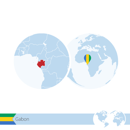 Gabon on world globe with flag and regional map of Gabon. Vector Illustration. Illustration
