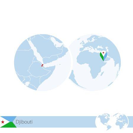 djibouti: Djibouti on world globe with flag and regional map of Djibouti. Vector Illustration. Illustration