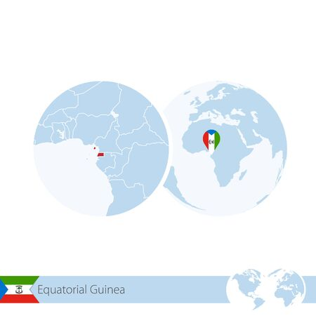 Equatorial Guinea on world globe with flag and regional map of Equatorial Guinea. Vector Illustration.