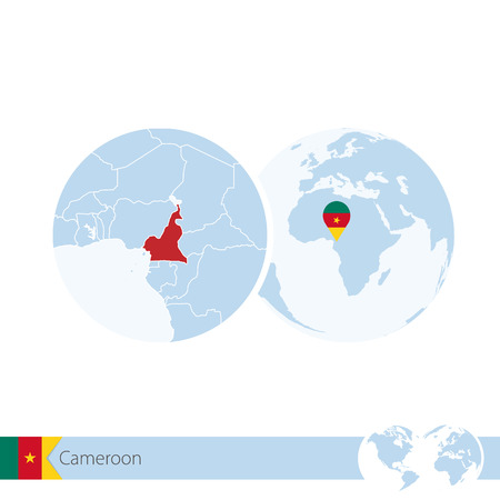 stud: Cameroon on world globe with flag and regional map of Cameroon. Vector Illustration. Illustration