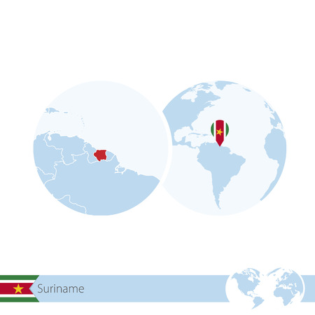 Suriname on world globe with flag and regional map of Suriname. Vector Illustration. Illustration