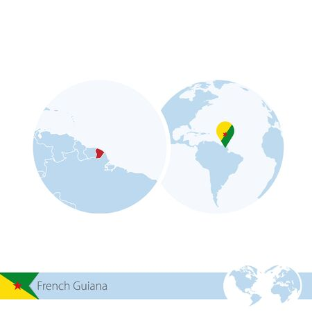 french guiana: French Guiana on world globe with flag and regional map of French Guiana. Vector Illustration.