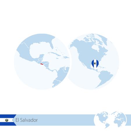 mapa de el salvador: El Salvador en el globo del mundo con la bandera y el mapa de la región de El Salvador. Ilustración del vector.
