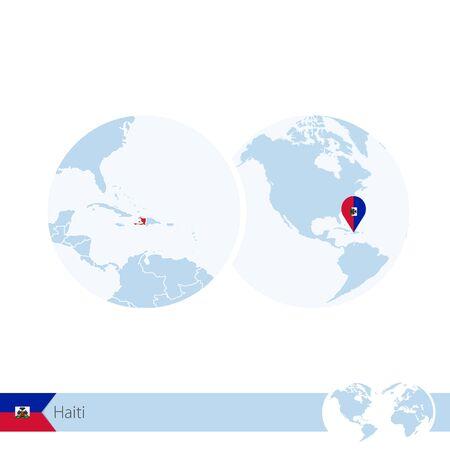 Haiti on world globe with flag and regional map of Haiti. Vector Illustration. Illustration