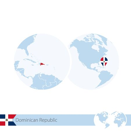 dominican republic: Dominican Republic on world globe with flag and regional map of Dominican Republic. Vector Illustration.