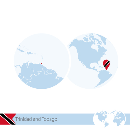 Trinidad and Tobago on world globe with flag and regional map of Trinidad and Tobago. Vector Illustration.