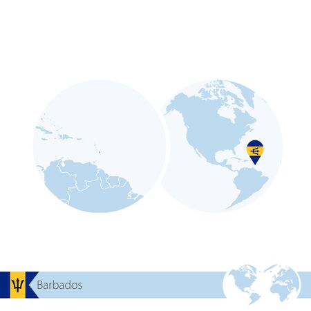 Barbados on world globe with flag and regional map of Barbados. Vector Illustration. Illustration