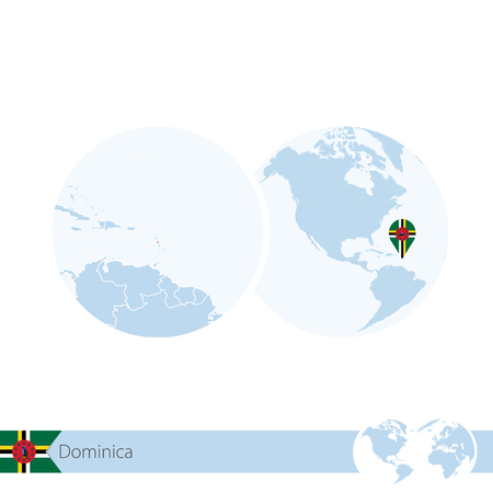 national geographic: Dominica on world globe with flag and regional map of Dominica. Vector Illustration.