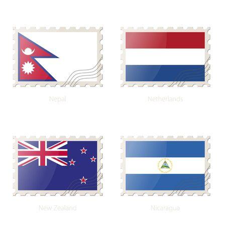 bandera de nueva zelanda: Sellos postales con la imagen de Nepal, Países Bajos, Nueva Zelanda, bandera de Nicaragua. Nueva Zelanda, Nicaragua, Nepal, Países Bajos Bandera correos en el fondo blanco con la sombra. Ilustración del vector.