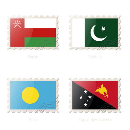palau: Postage stamp with the image of Oman, Pakistan, Palau, Papua New Guinea flag. Palau, Papua New Guinea, Oman, Pakistan Flag Postage on white background with shadow. Vector Illustration. Illustration