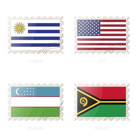 Postage stamp with the image of Uruguay, USA, Uzbekistan, Vanuatu flag. Vector Illustration.