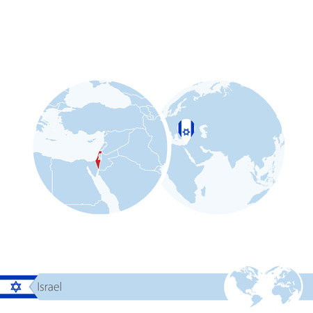 Israel on world globe with flag and regional map of Israel. Vector Illustration. Illustration