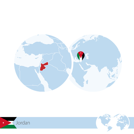 Abstract rounded world map with pinned detailed jordan map vector jordan on world globe with flag and regional map of jordan vector illustration vector gumiabroncs Image collections