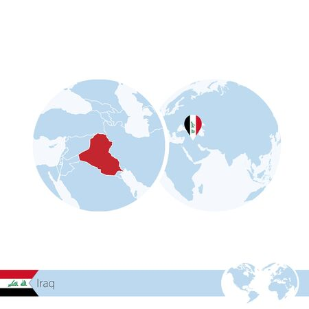 Iraq on world globe with flag and regional map of Iraq. Vector Illustration.